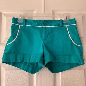 Banana Republic teal/white shorts size0 GUC